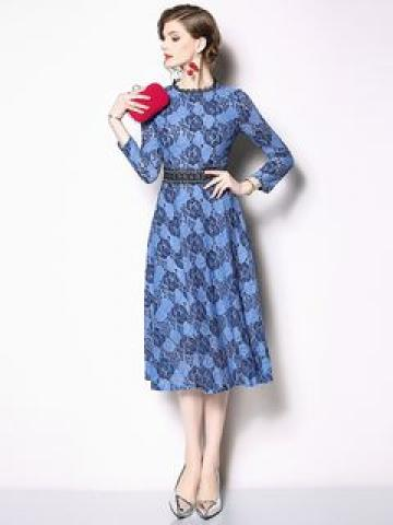 3/4-Sleeve Lace A-Line Midi Dress