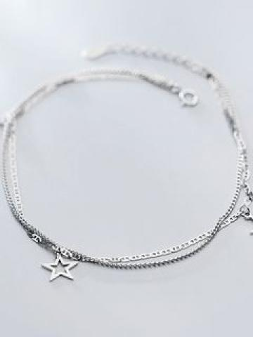 925 Sterling Silver Star Layered Anklet S925 Silver - Anklet - One Size