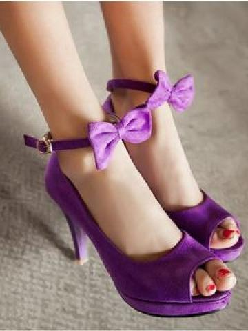 Bow-accent Peep-toe High-heel Faux Suede Pumps