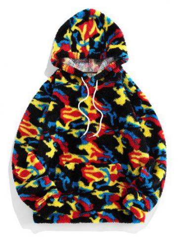 Camouflage Pattern Fluffy Hoodie