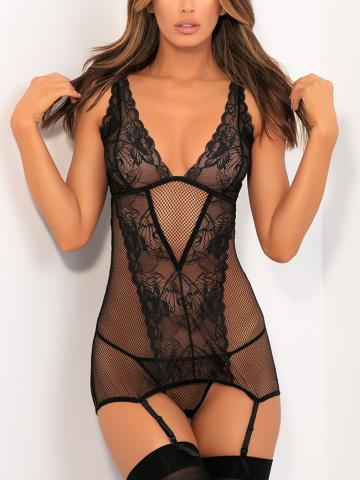 Deconstruct Me Chemise Set by Rene Rofe, Black, Size S/M - Yandy.com