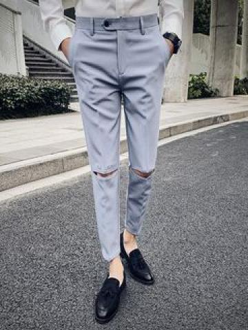 Distressed Cropped Skinny Pants