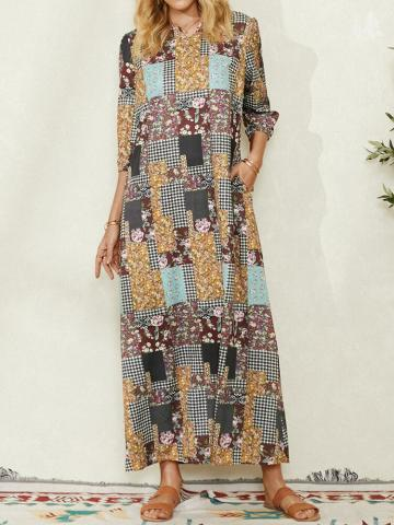 Ethnic Floral Plaid Print 3/4 Sleeve Vintage Maxi Dress For Women