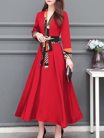 Fashionable V-neck long-sleeved print splicing dress