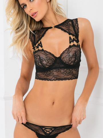 Flawless Lace Bra Set by Rene Rofe, Black, Size M/L - Yandy.com