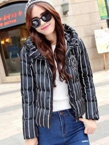 Hooded Striped Padded Jacket