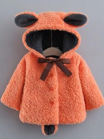 Kids Hooded Furry Bear Coat
