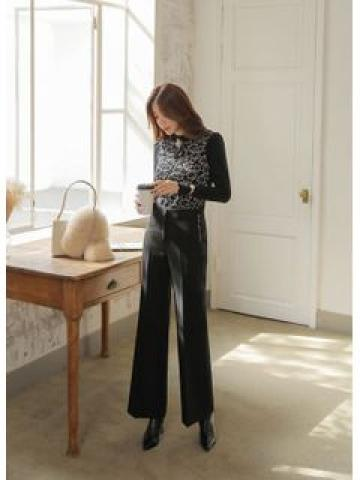 Letter-Embroidered Wide-Leg Dress Pants