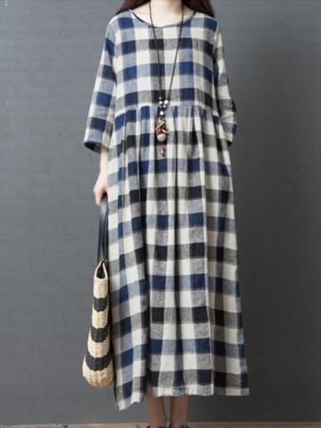 Loose Cotton And Linen Plaid Long Sleeves Maxi Dress