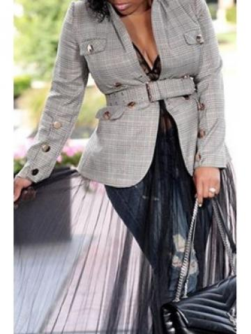 Lovely Casual Grid Printed Grey Blazer