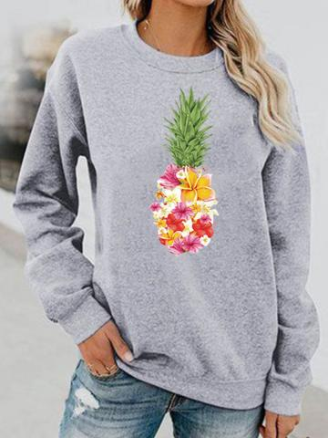 Pineapple print long-sleeved hoodless round neck sweater