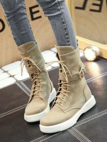 Platform Lace-Up Short Boots