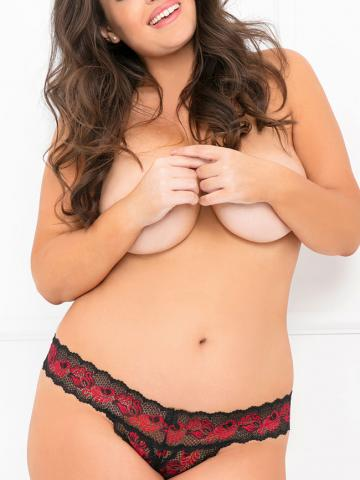 Plus Size Black and Red Crotchless Thong by Rene Rofe, Size 1X/2X - Yandy.com