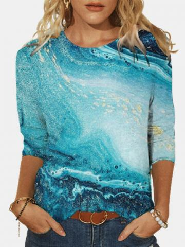Print O-neck Long Sleeve Plus Size Casual Cotton T-shirt for Women