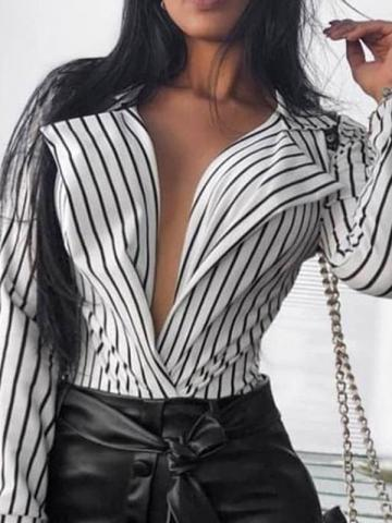 Print Stripe Regular Long Sleeve Womens Blouse