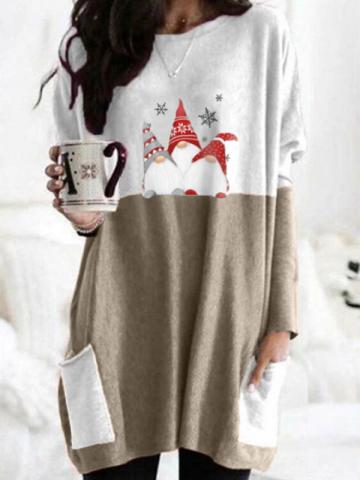 Santa Claus Long Sleeve Shift Dress