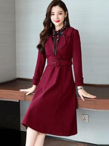 Set: Printed Long-Sleeve Top + Tie Waist Long-Sleeve A-Line Dress