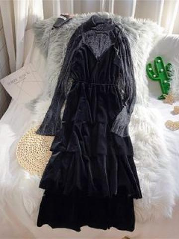 Set: Strappy Midi A-Line Dress + Mock Neck Top