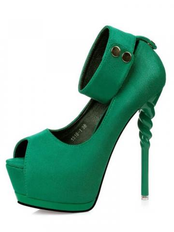 Shoespie Trendy Peep Toe Thread Stiletto Platform Heel