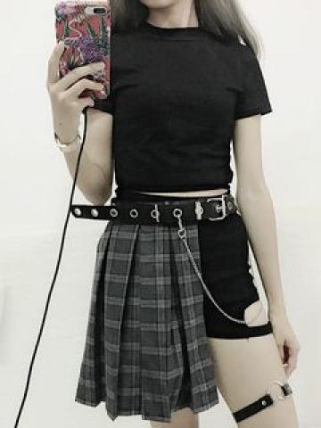 Short-Sleeve T-Shirt / Cut Out Mini A-Line Plaid Pleated Skirt / Cut Out Shorts / Belt