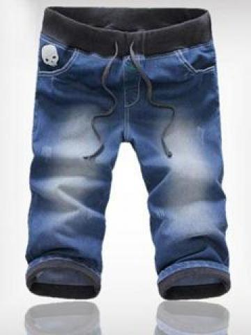 Skull Appliqué Cropped Washed Jeans