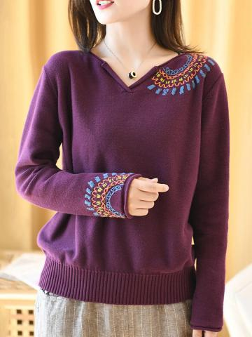 V Neck  Patchwork  Elegant  Embroidery  Long Sleeve  Knit Pullover